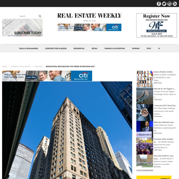 Renovation, restoration the trend in Midtown East | Real Estate Weekly
