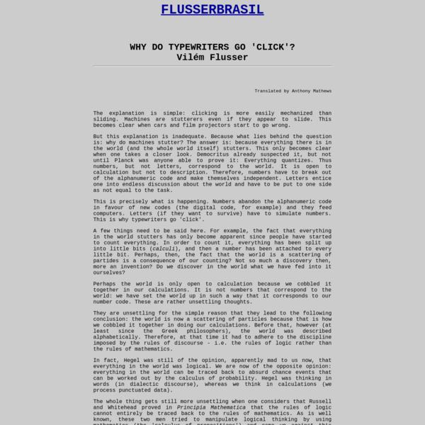 A Obra do Filósofo Tcheco-Brasileiro Vilém Flusser