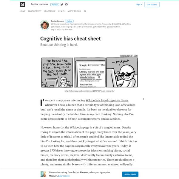Cognitive bias cheat sheet - Better Humans