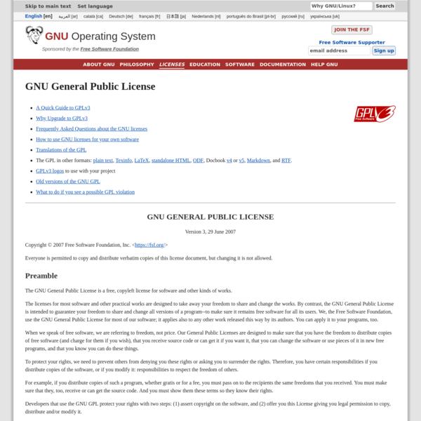 The GNU General Public License v3.0 - GNU Project - Free Software Foundation