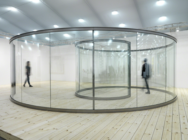 From Lisson Gallery, Dan Graham, Groovy Spiral (2013), Two-way mirror and stainless steel, 230 × 453 × 731 cm