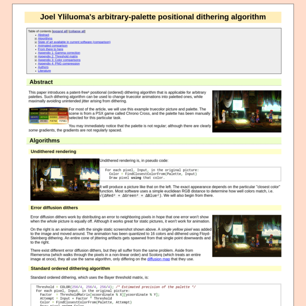 Arbitrary-palette positional dithering algorithm