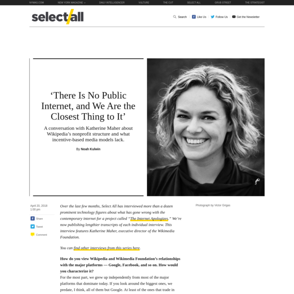 """Over the last few months, Select All has interviewed more than a dozen prominent technology figures about what has gone wrong with the contemporary internet for a project called """" You can find other interviews from this series here . The Internet Apologizes ."""" We're now publishing lengthier transcripts of each individual interview."""