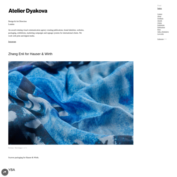 Atelier Dyakova. A multi-disciplinary, graphic design studio, specialise in art direction. We create publications, identities, websites, packaging, exhibitions, and signage for international clients.