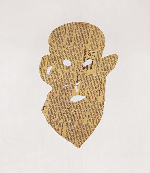 Ellsworth Kelly, Head with Beard, 1949, newspaper cutout. 26 x 15.9 cm, framed: 55.88 x 41.28 x 3.81 cm, Collection of the artist, © Ellsworth Kelly