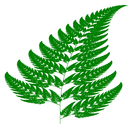 The fern is one of the basic examples of self-similar sets, i.e. it is a mathematically generated pattern that can be reproducible at any magnification or reduction. Like the Sierpinski triangle, the Barnsley fern shows how graphically beautiful structures can be built from repetitive uses of mathematical formulas with computers. Barnsley's 1988 book Fractals Everywhere is based on the course which he taught for undergraduate and graduate students in the School of Mathematics, Georgia Institute of Technology, called Fractal Geometry. After publishing the book, a second course was developed, called Fractal Measure Theory.[1] Barnsley's work has been a source of inspiration to graphic artists attempting to imitate nature with mathematical models.  The fern code developed by Barnsley is an example of an iterated function system (IFS) to create a fractal. This follows from the collage theorem. He has used fractals to model a diverse range of phenomena in science and technology, but most specifically plant structures.