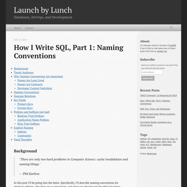 How I Write SQL, Part 1: Naming Conventions