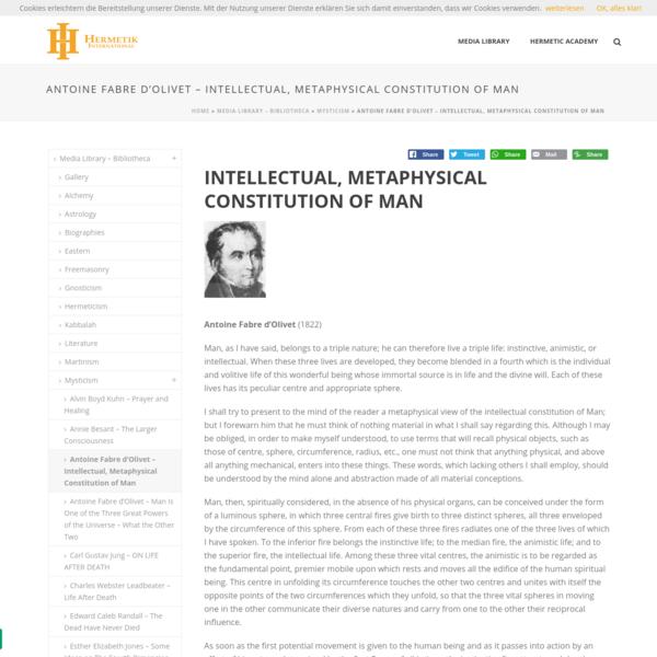 Antoine Fabre d'Olivet - Intellectual, Metaphysical Constitution of Man - Hermetik International