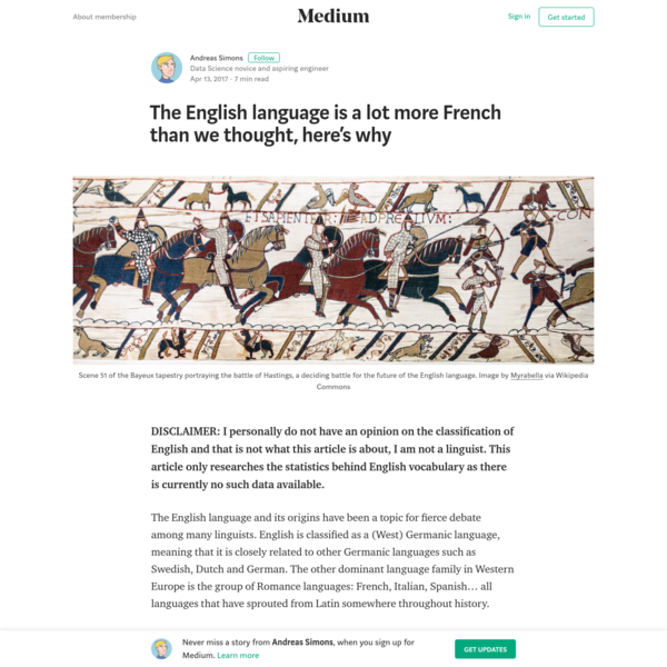 DISCLAIMER: I personally do not have an opinion on the classification of English and that is not what this article is about, I am not a linguist. This article only researches the statistics behind English vocabulary as there is currently no such data available.