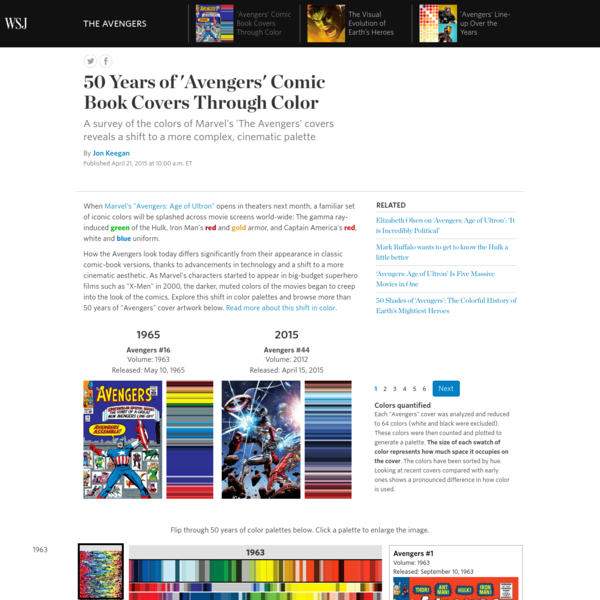 A survey of the colors of more than 50 years of Marvel's 'The Avengers' covers reveals a shift to a more complex, cinematic palette