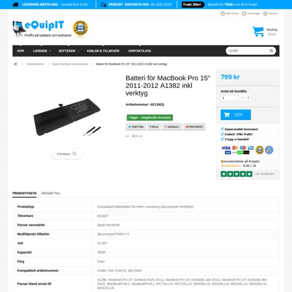 "Batteri Apple MacBook Pro 15"" 2011-2012 A1382 A1286 - supersnabb leverans | eQuipIT"