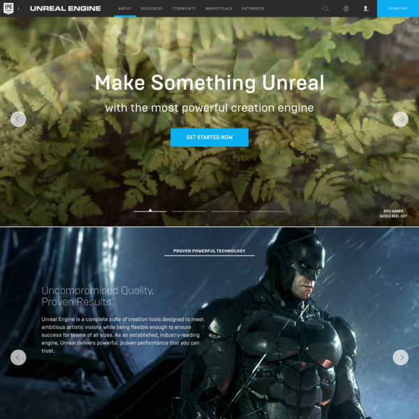 Unreal Engine 4 is a suite of integrated tools for game developers to design and build games, simulations, and visualizations.