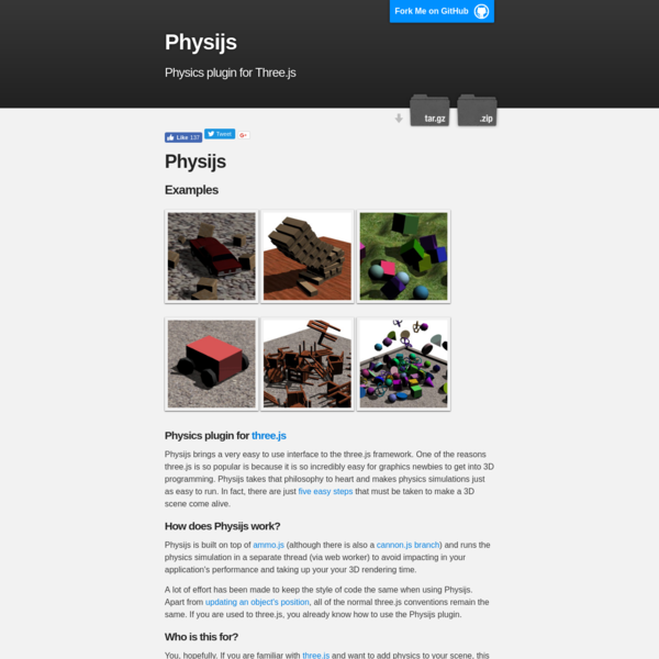 Physijs - a physics plugin for threejs
