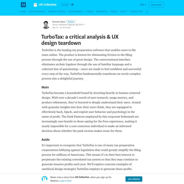 TurboTax: a critical analysis & UX design teardown - UX Collective