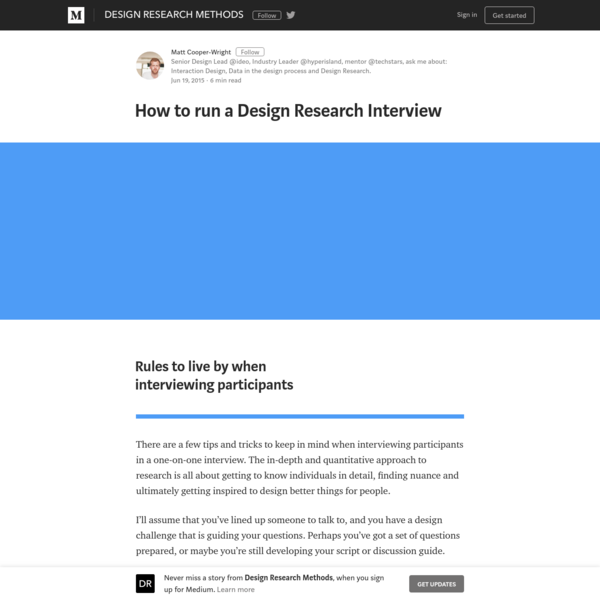 Design Research & Interviews - What? Why? How?