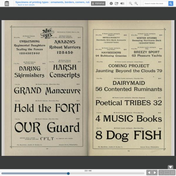 Specimens of printing types : ornaments, borders, corners, rules, emblems, initials, &c.