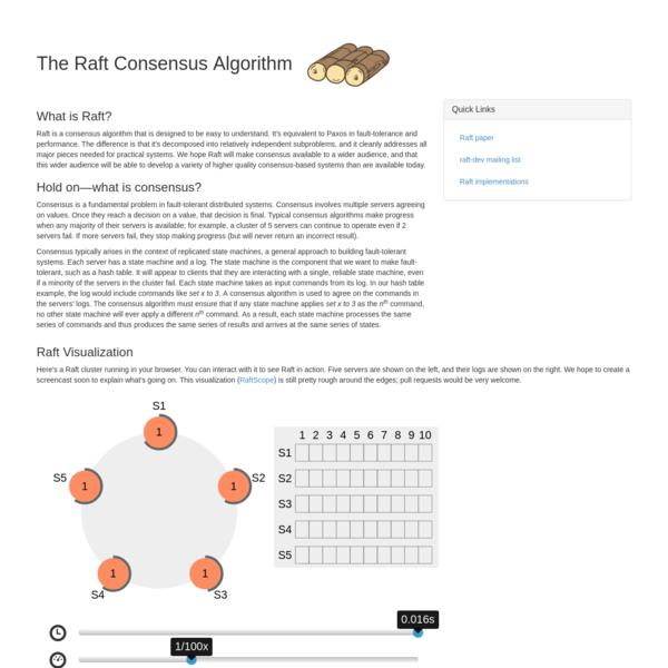 Raft is a consensus algorithm that is designed to be easy to understand. It's equivalent to Paxos in fault-tolerance and performance. The difference is that it's decomposed into relatively independent subproblems, and it cleanly addresses all major pieces needed for practical systems. We hope Raft will make consensus available to a wider audience, and that this wider audience will be able to develop a variety of higher quality consensus-based systems than are available today.