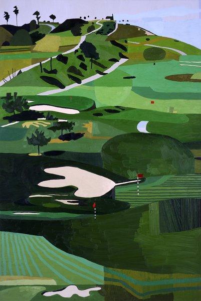 Jonas-Wood-Scholl-Canyon-master1050_peindre-un-golf-course-avec-des-femmes-dedans_-un-golf-course-ou-le-soleil-se-cou...