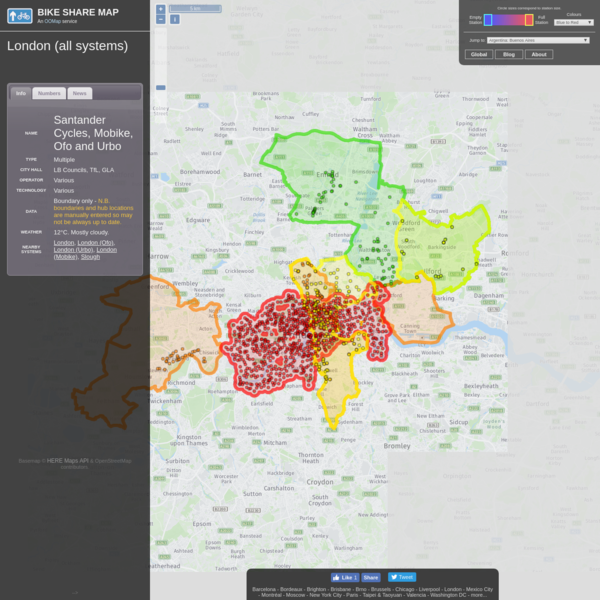 Bike Share Map: London (all systems)