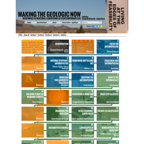 Making the Geologic Now Responses to Material Conditions of Contemporary Life