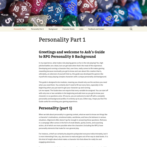 Ash's Guide to RPG Personality and Background