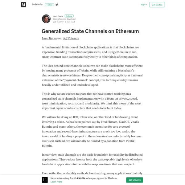 Generalized State Channels on Ethereum - L4 Media - Medium