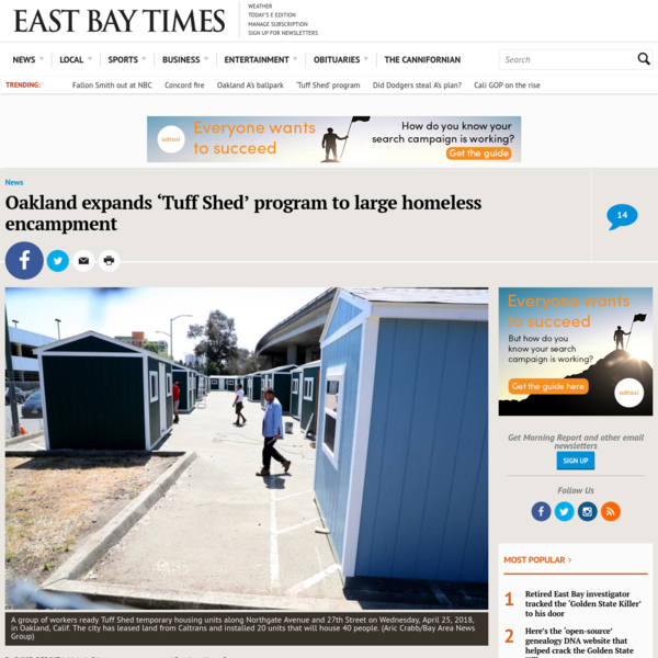 OAKLAND - One of this city's largest, more visible homeless encampments is getting a little company. Tucked beneath Interstate 980 stand 20 brightly colored sheds - new temporary homes for 40 people living on the streets of Northgate Avenue and Sycamore Streets.