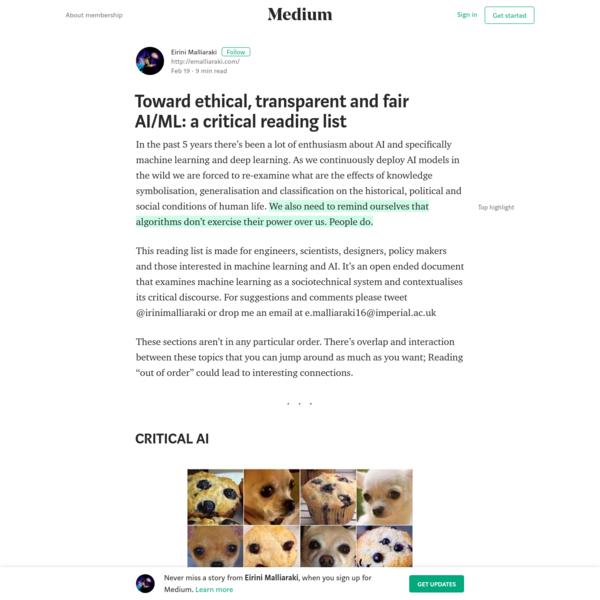 Toward ethical, transparent and fair AI/ML: a critical reading list