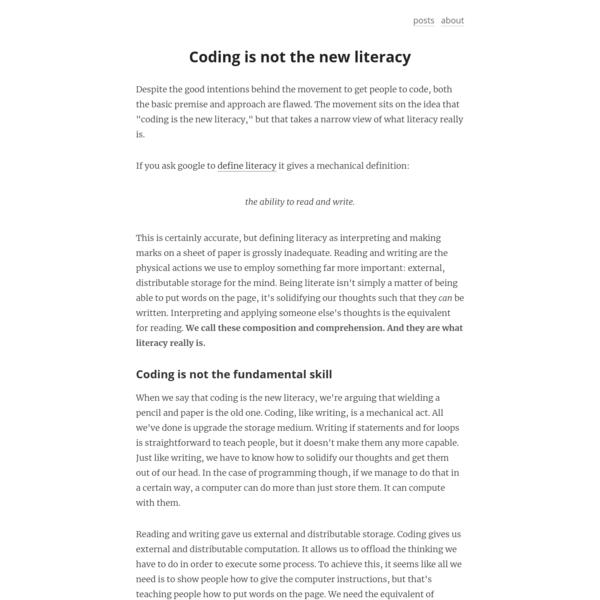Chris Granger - Coding is not the new literacy