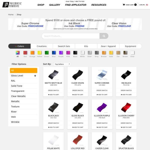 Powder Coating Colors & Custom Coatings | Shop | Prismatic Powders
