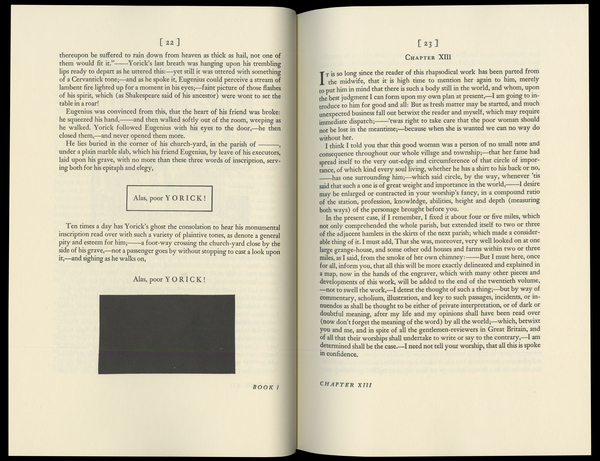 Sterne, Laurence, _The Life and Opinions of Tristram Shandy, Gentleman_ [1759–67] (Norwalk: The Heritage Press, 1963), pp. 22–3.