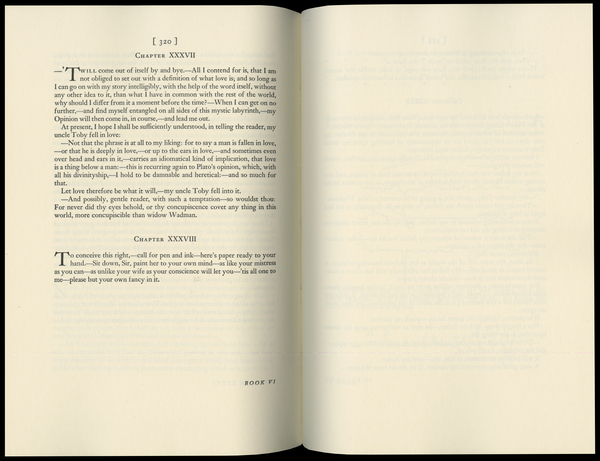 Sterne, Laurence, _The Life and Opinions of Tristram Shandy, Gentleman_ [1759–67] (Norwalk: The Heritage Press, 1963), pp. 320–1.