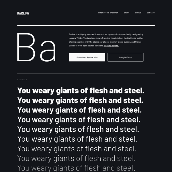 Barlow, a grotesk variable font superfamily by Jeremy Tribby