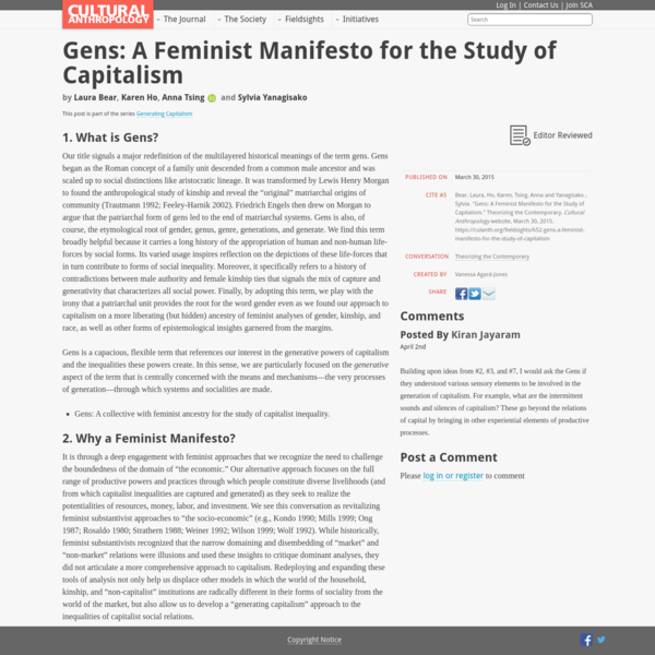 Gens: A Feminist Manifesto for the Study of Capitalism - Cultural Anthropology
