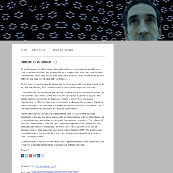 Commodified vs. Commoditized - Rushkoff