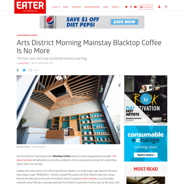 Arts District morning mainstay Blacktop Coffee is no more
