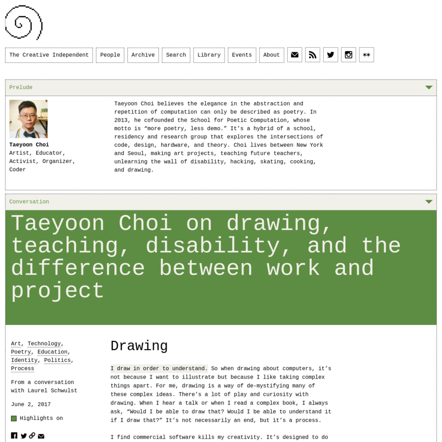 Artist Taeyoon Choi believes the elegance in the abstraction and repetition of computation can only be described as poetry.