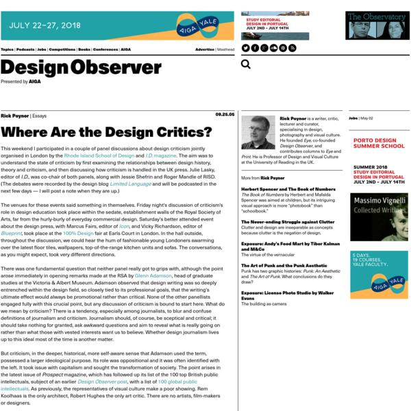 Where Are the Design Critics?