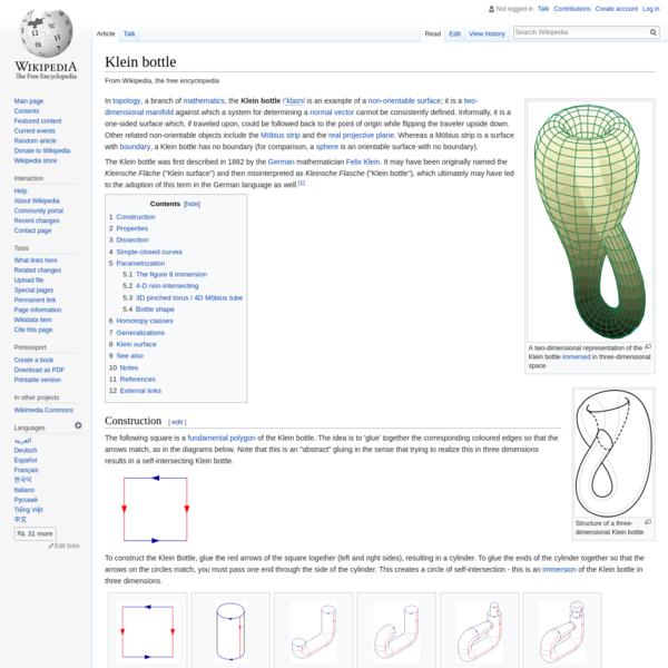 Klein bottle - Wikipedia
