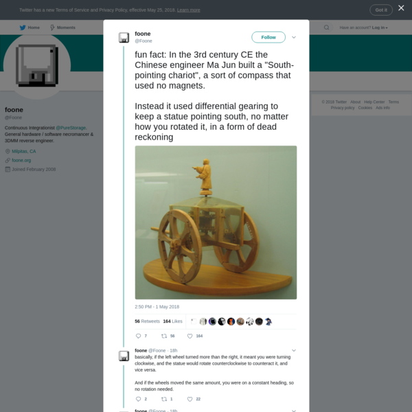 """fun fact: In the 3rd century CE the Chinese engineer Ma Jun built a """"South-pointing chariot"""", a sort of compass that used no magnets. Instead it used differential gearing to keep a statue pointing south, no matter how you rotated it, in a form of dead reckoning"""