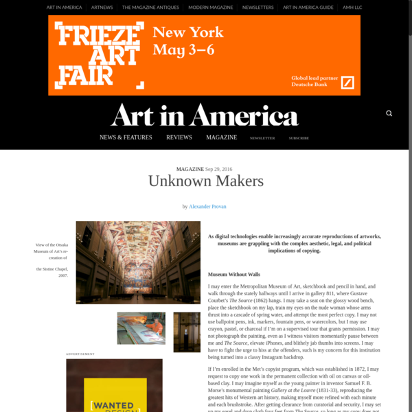 Unknown Makers - Art in America