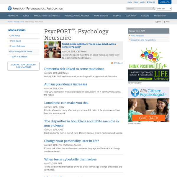 PsycPORT™: Psychology in the News
