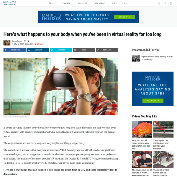 Here's what happens to your body when you've been in virtual reality for too long
