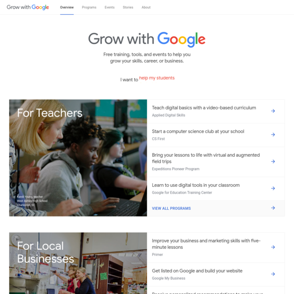 Grow with Google offers free training and tools to help you grow your skills, career, or business. Explore programs and register for an in-person workshop.