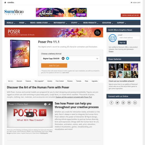 Poser Pro 11 - Professional 3D Character Art and Animation Software