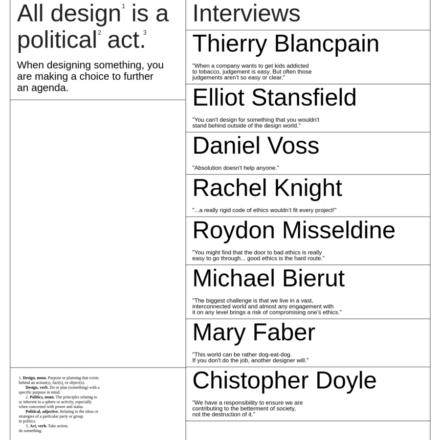 1. Design, noun. Purpose or planning that exists behind an action(s), fact(s), or object(s). Design, verb. Do or plan (something) with a specific purpose in mind. 2. Politics, noun. The principles relating to or inherent in a sphere or activity, especially when concerned with power and status. Political, adjective.