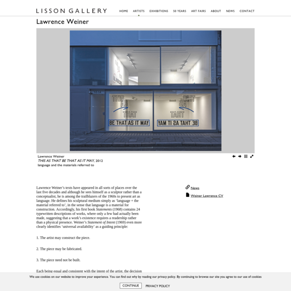Founded in 1967, Lisson Gallery is one of the most influential contemporary art galleries in the world, showing 45 innovative and international artists