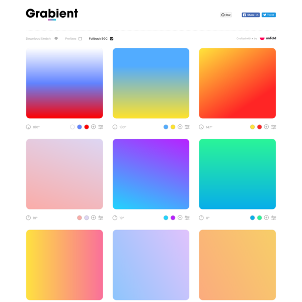 Beautiful and simple UI for generating web gradients.
