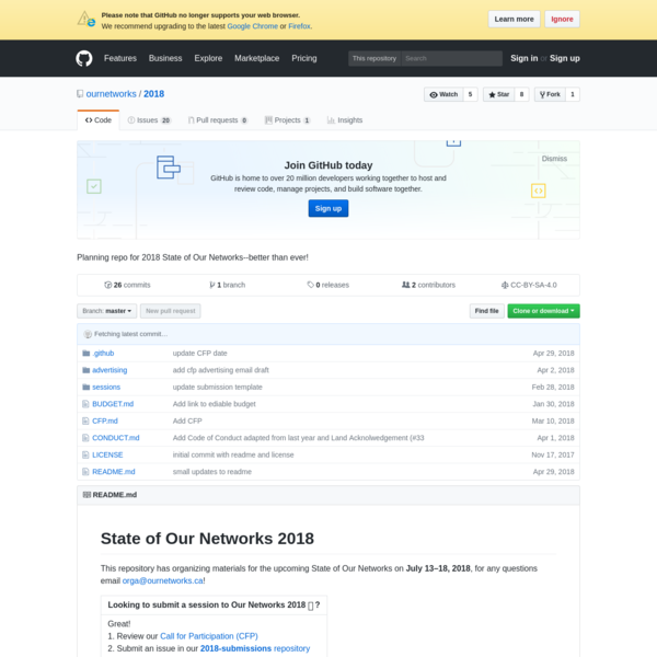 Planning repo for 2018 State of Our Networks--better than ever!