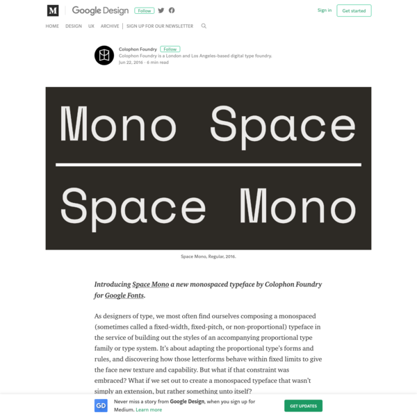 Are na / Introducing Space Mono a new monospaced typeface by
